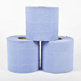 2 ply Blue Recycled Centrefeed Rolls 150 Metre