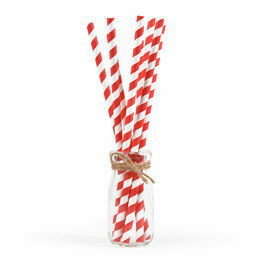 6mm x 200mm Red And White 3 Ply Premium Paper Straws