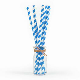 6mm Blue And White Biodegradable 2ply Paper Straws