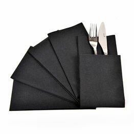 Swantex 40cm Swansoft Readifold Black Paper Napkins