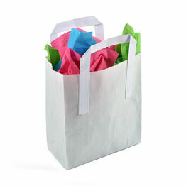 Small White Paper Carrier Bags Tape Handle 18cm x 21.5cm x 8.5cm