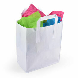 Medium White Paper Carrier Bags Tape Handle 22cm x 25cm x 11cm