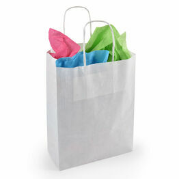Accessory Twist Handle Paper Carrier Bags White 18cm x 24cm x 8cm