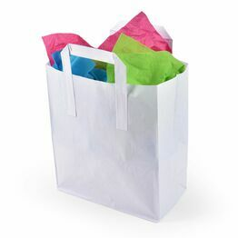 Large White Paper Carrier Bags Tape Handle 25cm x 30cm x 13.5cm