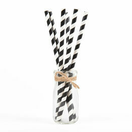 Utopia Biodegradable Paper Straws Black Stripes