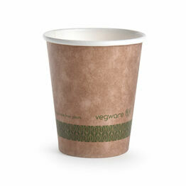 Vegware KV-8 8oz Brown Kraft Hot Cup 79-Series