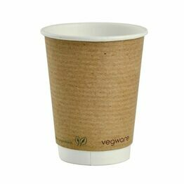 Vegware VDW-12 12oz Double Wall Brown Kraft Hot Cup, 89-Series