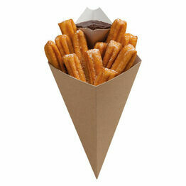 Bubble Waffle Brown Paper Kraft Cone With Dip Corner 279x168mm