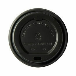 79mm CPLA Hot Cup Lid to fit 8oz Cup -  Black