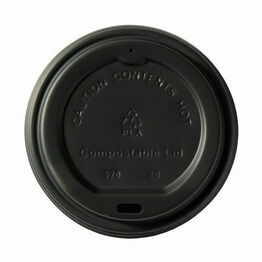 89mm CPLA Hot Cup Lid to fit 12 & 16oz Cup - Black