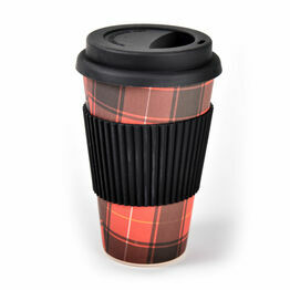 Reusable Bamboo Travel Mug - Tartan (400ml/14oz)