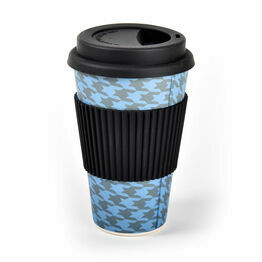 Reusable Bamboo Travel Mug - Houndstooth (400ml/14oz)