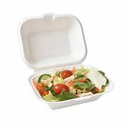 Medium White Bagasse Food Box 15cm x 19cm x 7.5cm
