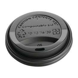Fiesta Black Compostable Hot Cup Lids 340ml / 12oz