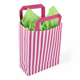 18cm x 23cm x 8cm Pink Striped Paper Carrier Bags
