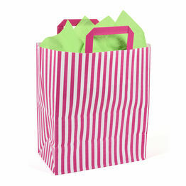 25cm x 30cm x 14cm Pink Striped Paper Carrier Bags