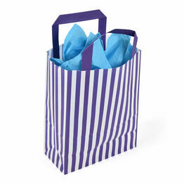 18cm x 23cm x 8cm Purple Striped Paper Carrier Bags