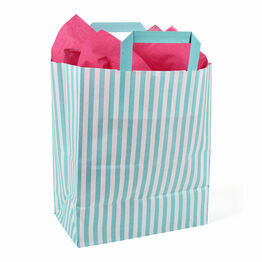 25cm x 30cm x 14cm Aqua Striped Paper Carrier Bags