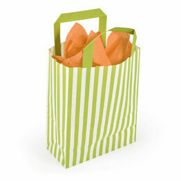 18cm x 23cm x 8cm Lime Striped Paper Carrier Bags
