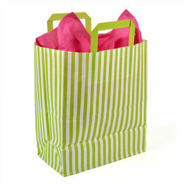 25cm x 30cm x 14cm Lime Striped Paper Carrier Bags