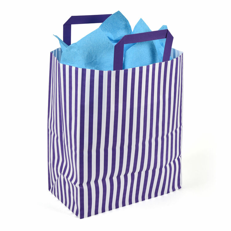 d0f4e7c7d 25cm x 30cm x 14cm Purple Striped Paper Carrier Bags additional 1 ...