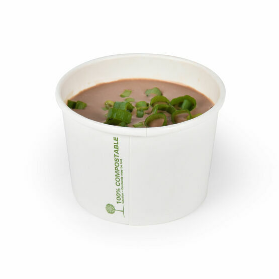8oz White Biodegradable Soup Containers