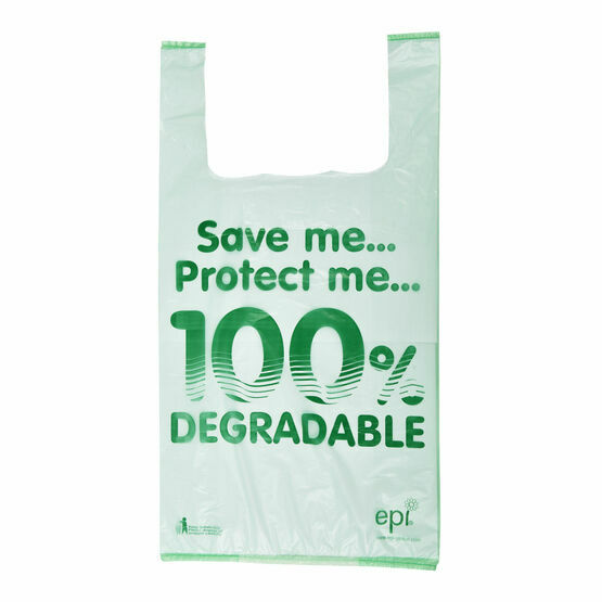 "11"" x 17"" x 21"" Image 100% Degradable Plastic Vest Carrier Bags (Packs of 100)"