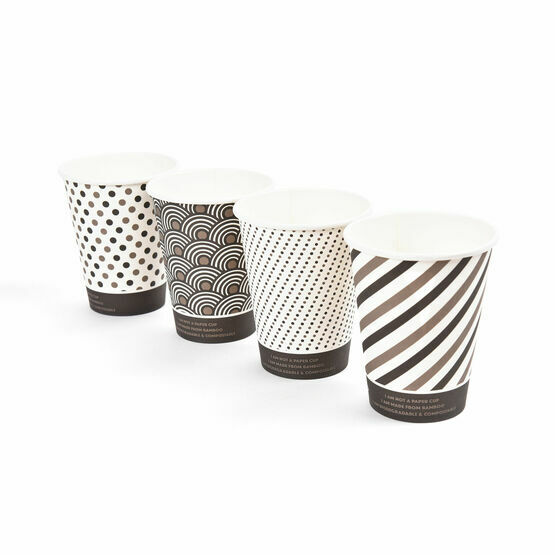 12oz Mixed Design Bamboo Disposable Cups - Compostable