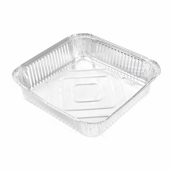 "9"" x 9"" x 1.5"" (230 x 230mm x 38mm) Shallow square aluminium foil containers"