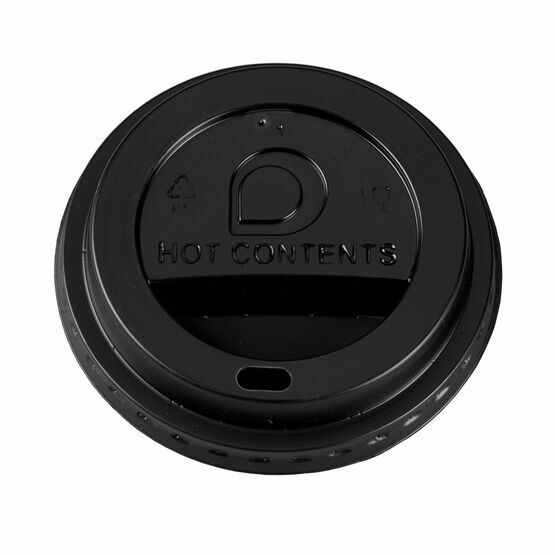 80mm Black Plastic Lids To Fit 8oz Hot Cups